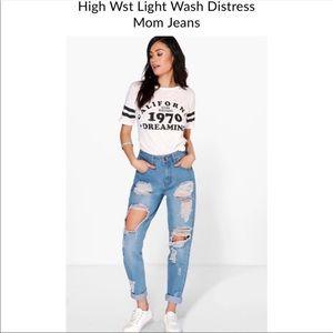 BOOHOO- Super Distressed High Waist Mom Jeans